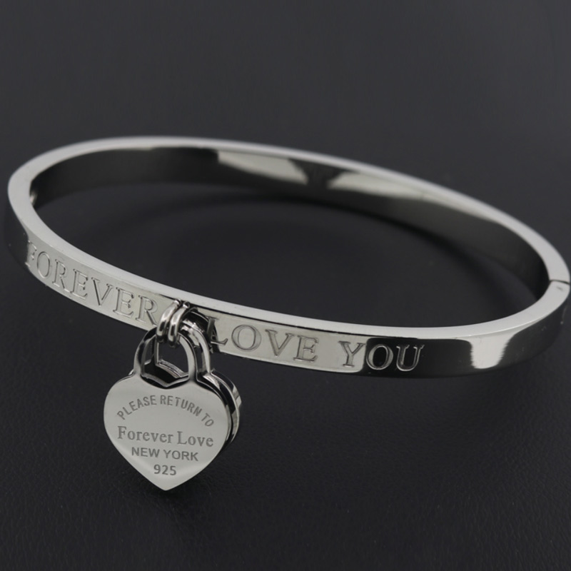 Hot Classic Stainless Steel Gold Colour Bracelets & Bangles Wholesale Jewelry Fine Double Peach Heart Love Bracelets Female