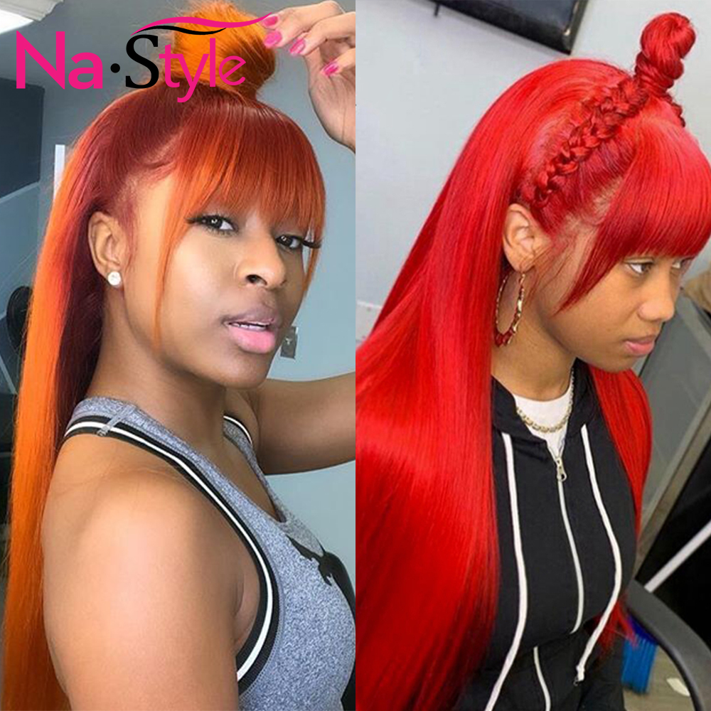 Orange Straight Lace Front Wig Red Colored Human Hair Wigs With Bangs 13x6 Lace Frontal Wig For Women Pre Plucked 150 Remy