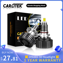 CARLitek 18000LM H11 หลอดไฟLED 24 ด้าน 50W H7 12V Auto 72 PCS CSPชิปH8 9005 9006 HB4 HB3 LEDไฟหน้ารถH7 หลอดไฟLED