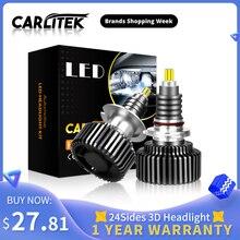 Carlitek 18000LM H11 ledランプ 24 辺 50 ワットh7 12 12vオートライト 72 個cspチップH8 9005 9006 HB4 HB3 led車のヘッドライトH7 led電球