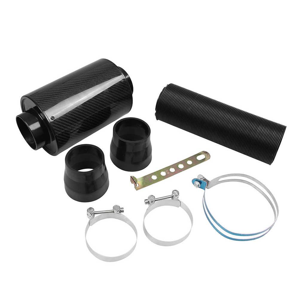 Universal Car Kit de manguera de tuber/ía de inducci/ón de admisi/ón de filtro de aire fr/ío de fibra de carbono Filtro de inducci/ón de admisi/ón