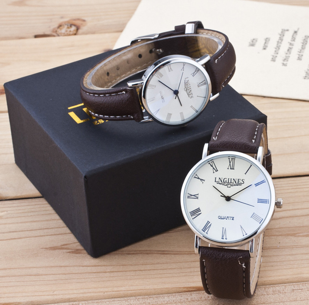 2pcs Fashion Reloj Mujer Couple High Gloss Glass Stainless Steel Case Leather Band Watch Set Contains Box 2019 Relogio Masculino
