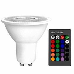 GU10 светодиодный RGB лампа 3 Вт 16 цветов сменный GU5.3 светодиодный светильник RGBWW 85-265 в волшебный праздничный светильник ing + ИК-пульт