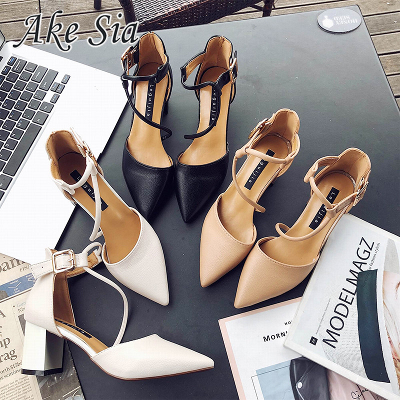 2020 New Sexy Comfortable Wild Thick With Single Shoes Pointed Straps High Heels Shallow Mouth Fashion Wild High Heels