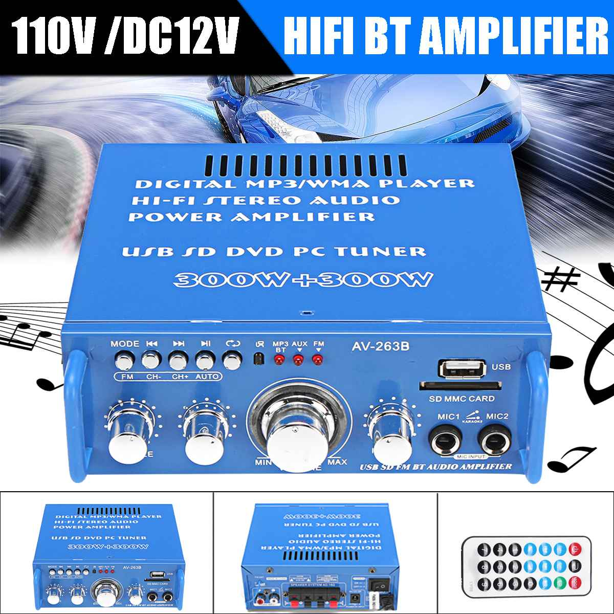 300W+300W 110V/12V Home Audio Power Amplifier HIFI Stereo 2 CH Digital Bluetooth Mini Amplificador FM MP3 Music Player