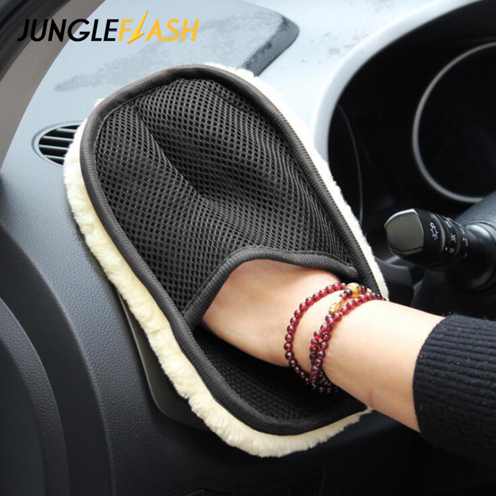 JUNGLEFLASH Car Washer Accessories Soft Wool Car Wash Gloves Auto-Care Car Cleaning Microfiber 23*18cm Auto Washing Tools