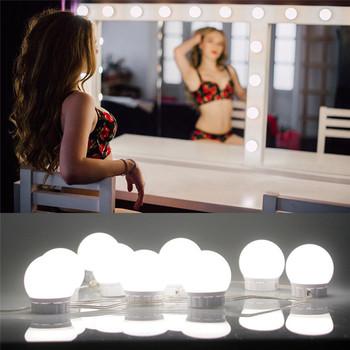 Żarówka LED do makijażu światło lustrzane Hollywood Vanity Lights bezstopniowa ściemniająca lampa ścienna 6 14 zestaw żarówek do toaletka tanie i dobre opinie Wyposażone CN (pochodzenie) NONE 45mm Podświetlany 302967