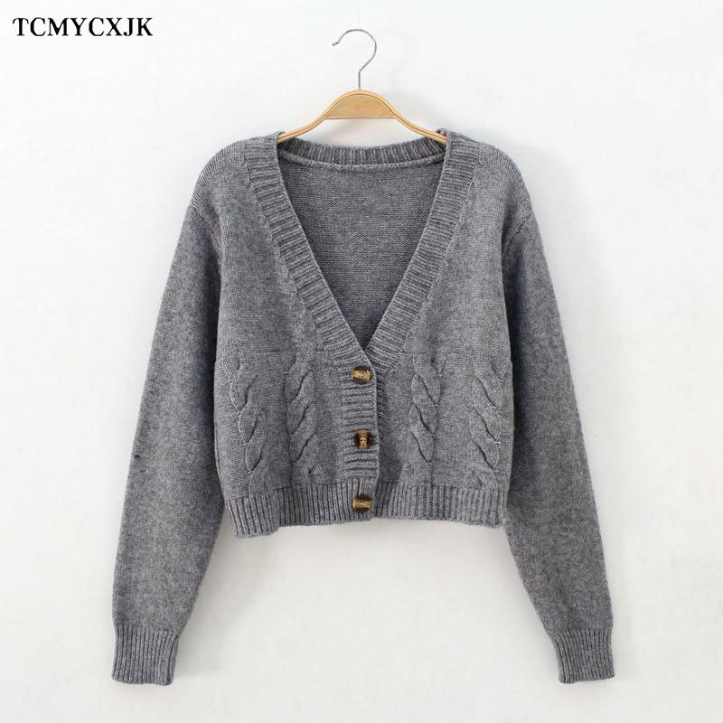 Short High Waist Slim Cable V neck Sweater Women Spring And Autumn 2021 New Single breasted Knitted Cardigan Twist Small Jackets