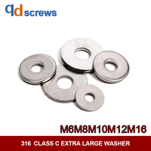316 M6M8M10M12M16 Stainless Steel Class C Extra Large Washer Flat Gasket GB5287 ISO 7094