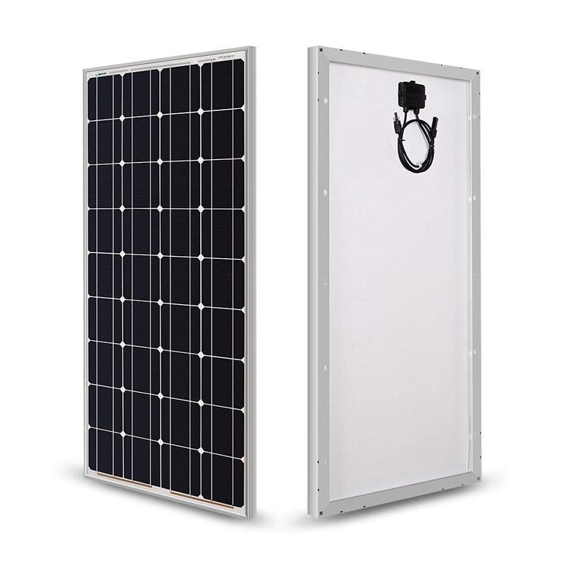 Painel solar 100w 200w sólido 18v painel solar de vidro rígido 120w energia máxima célula monocristalina 12v 24v carregador de bateria