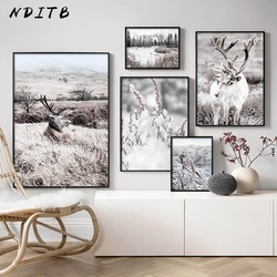 Scandinavian Winter Nature Landscape Poster Print Deer Reed Wood Canvas Painting Animal Wall Art Picture Nordic Style Home Decor