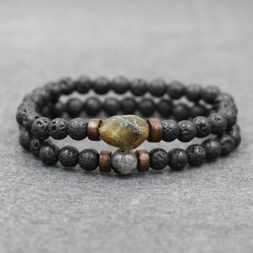 2pcs/ set Men Bracelets Natural Lava Stone Beads Bracelet Moonstone Labradorite Bracelet For Men Couples Jewelry Male Pulseira
