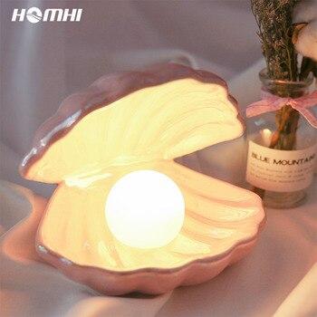 Lámparas de concha de mesa para el dormitorio, lámpara de noche, joyería de perlas, candelabro de mesa, lámpara de mesa, decoración, regalo de boda para chica