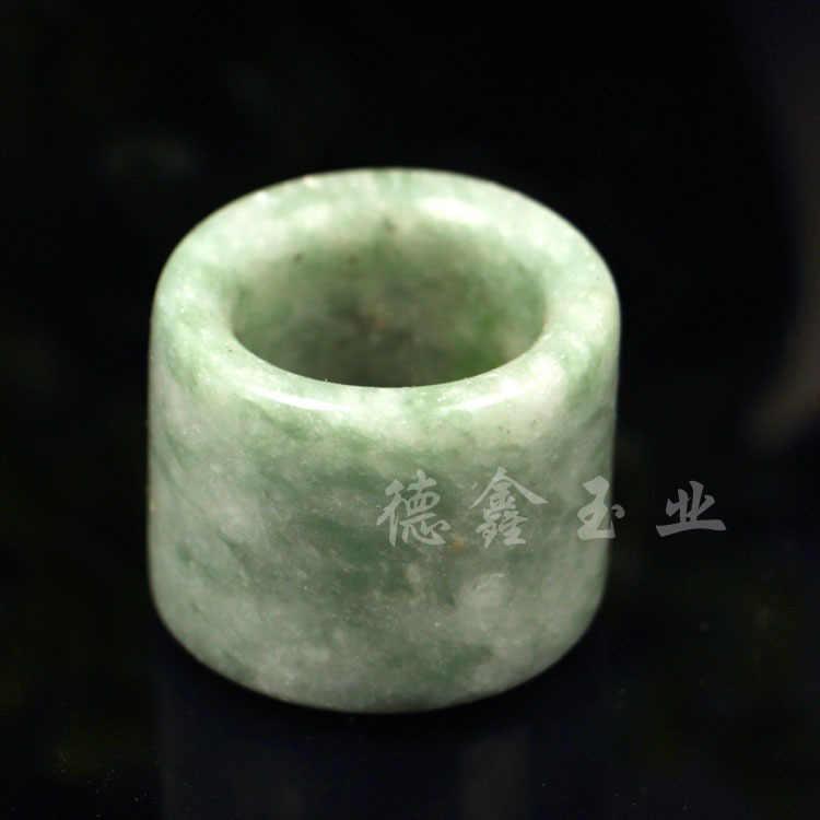 自然の緑のヒスイリング硬玉仏教お守りファッション中国チャームジュエリー手工芸幸運ギフト女性男性 A85