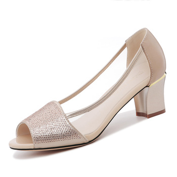 Shoes Woman MOOLECOLE New Fashion Women Shoes Peep Toe Square Heels Women Single Shoes Air Mesh 5.5 cm Heels Women Pumps 2-138