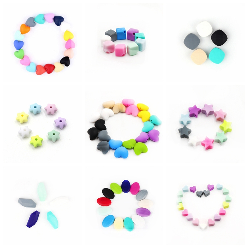 TYRY.HU 50pcs Silicone Beads Teething Baby Teether Accessories Food Grade Pearl Silicone Star Teething Pacifier Baby Products