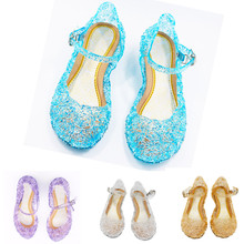 Baby Girl Kids Summer Crystal Shoes Princess High-Heeled Shoes Princess Cosplay Party Shoes Girls Jelly Wedge Shoes