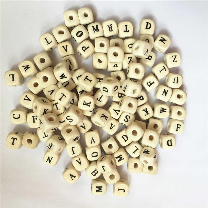 2019 yeni DIY 100 adet Mix mektup alfabe ahşap boncuk kare küp mektup ahşap boncuklar Fit DIY emzik klip doğal ahşap boncuklar 10mm
