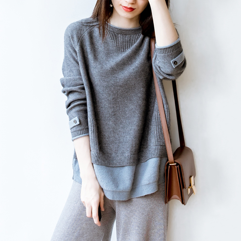 Fake Two Cashmere Sweater Women's Round Neck Pullover Autumn And Winter New Korean Loose Wool Sweater Lazy Wind Sweater Tide