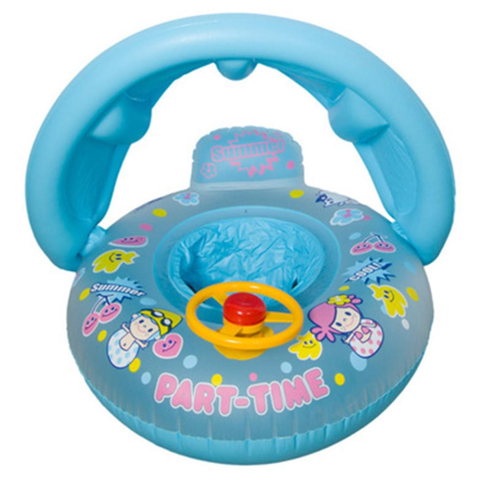 Baby Sunshade Thickening Swimming Boat Cartoon Children Inflatable Swim Ring Steering Wheel Baby Seat Ring