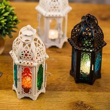Portavelas de cristal Vintage linterna en jaula hueco candelabro boda decoración del hogar