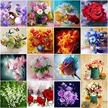 5D Diamante flor Jarrón de flores Diamante redondo Mosaico Patrón de decoración del hogar DIY Regalo de año nuevo hecho a mano