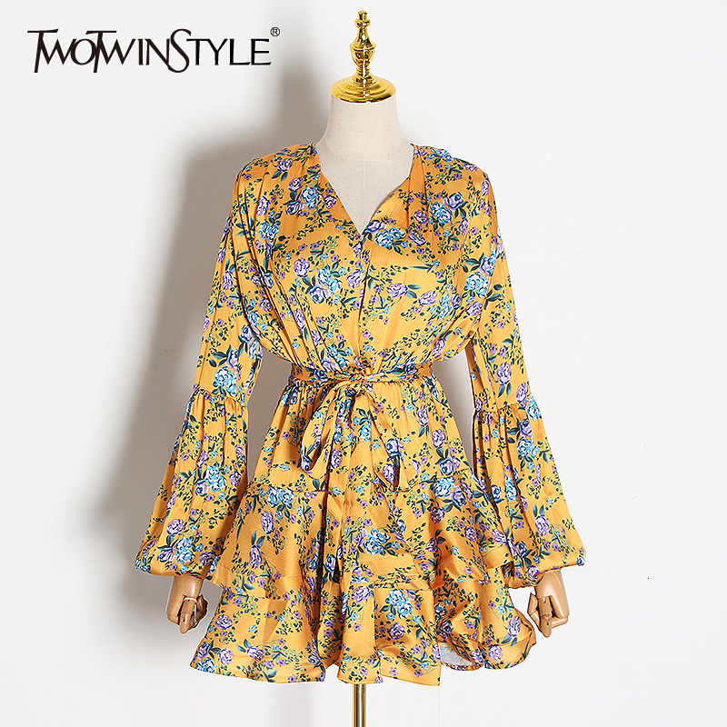 TWOTWINSTYLE Print Ruffle WIth Belt High Waisted Dress For Women V Neck Puff Long Sleeve Dresses Female 2020 Autumn Fashion New