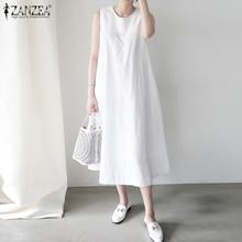 Sleeveless Dress ZANZEA Women Summer Maxi Beach-Robe O-Neck Vestidos Casual Loose Plus-Size