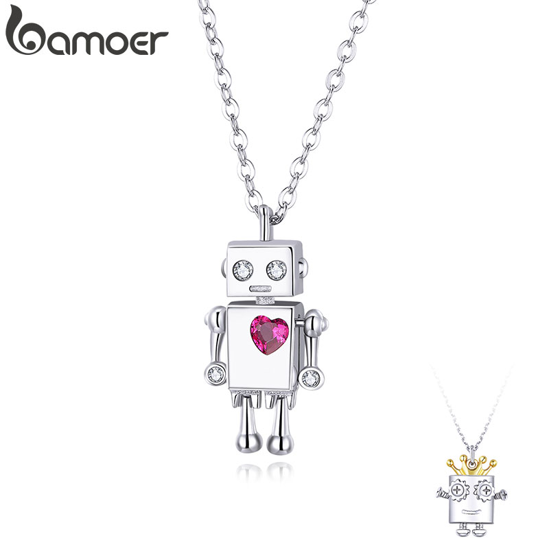 Bamoer Valentine's Day Series 925 Sterling Silver Robot Lover Couple Pendant Necklace Corwn And Heart Jewelry 2020 New SCN387