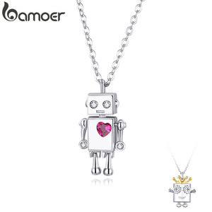 bamoer Valentine's Day Series 925 Sterling Silver Robot Lover Couple Pendant Necklace Corwn and Heart Jewelry 2020 New SCN387(China)