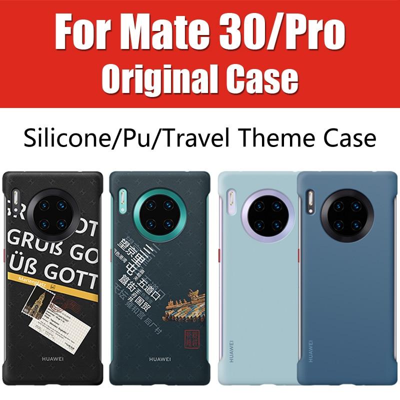 O Tema de viagem Por Huawei Companheiro 30 Pro 5G Caso Capa de Couro Oficial Original BOX Mate30 Pro Silicone LIO-N29/ TAS-L09