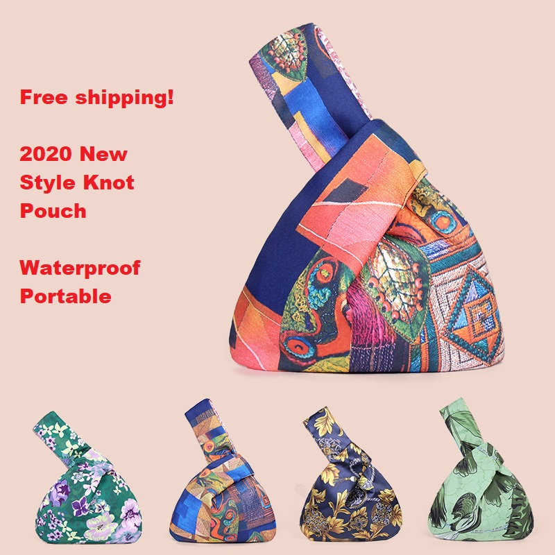 Cotton Japanese Style Wrist Bag Sleeve Knot Pouch Portable Purse Canvas Tote Women's Bag For Walking Handbag Key Phone Pouch