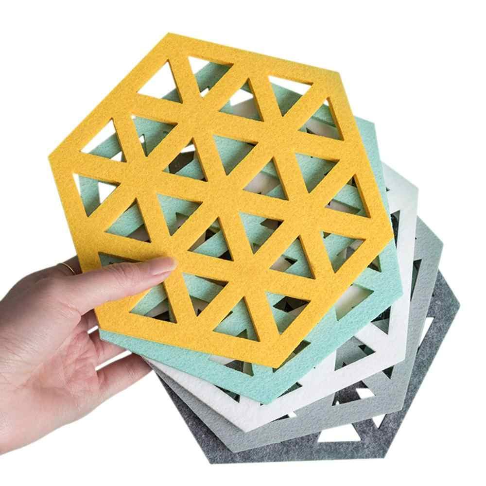ร้อนขาย Felt Coaster Hexagon Hollow ถ้วยนุ่มความร้อนฉนวน Slip Pad Home เครื่องดื่มร้อนผู้ถือเดสก์ท็อปตกแต่ง