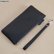 SIMLINE Genuine Sheep Leather Wallet For Men Male Women Mens Vintage Soft Long Zipper Wallets Purse