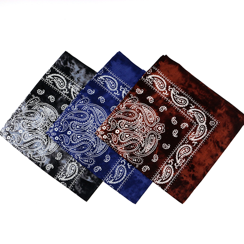 Retro Old Color Blue Black Coffee Cotton Paisley Bandanas Men Tie Dye HeadScarves Women Hiphop Headband Riding Masks Headwear(China)