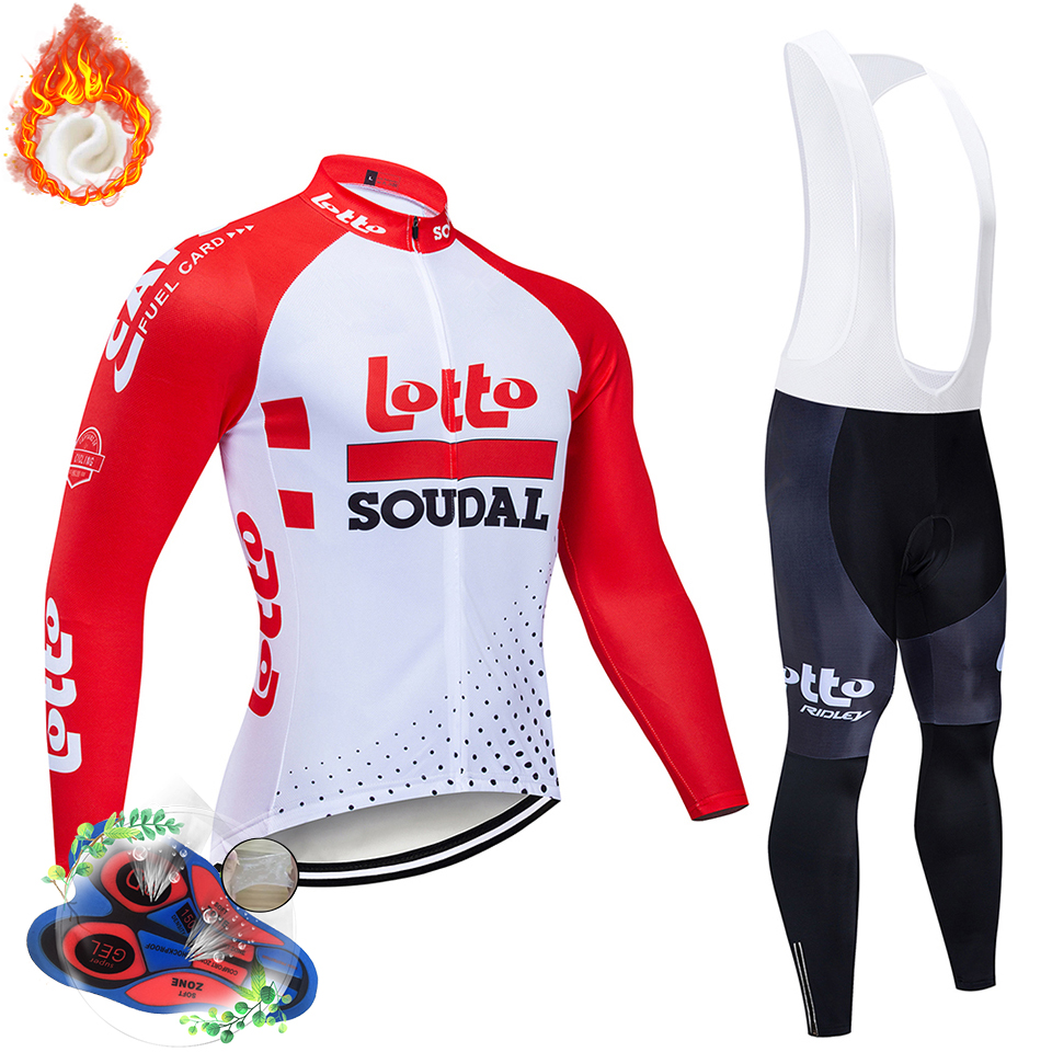 2019 Hot lotto Winter Thermal Fleece Cycling Jersey Long Sleeve Jerseys Cycling Bib Pants Set Bike Bicycle Cycling Clothes