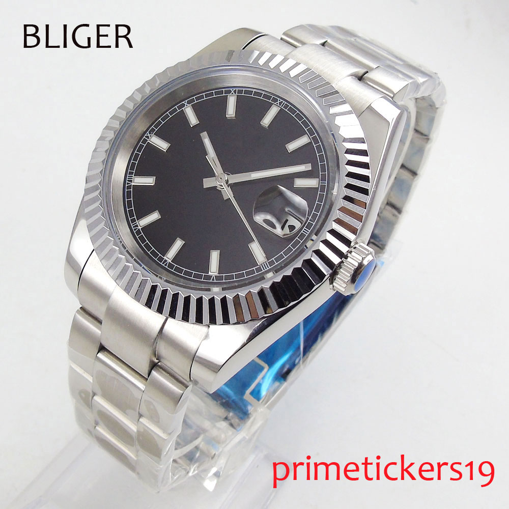 Luxury 40mm BLIGER black nologo dial luminous hands date mental band automatic movement  mens watch