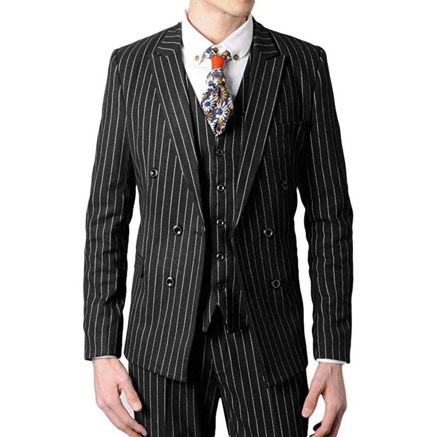 Doppio Petto Groomsmen Nero/Grigio/Navy con Strisce Bianche Smoking Picco Risvolto Uomini Abiti Sposo (Jacket + pantaloni + Vest + Tie) c814 - 3