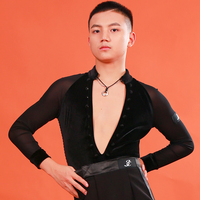 Latin Dance Top Male Sexy V Neck Jumpsuit Cha Cha Rumba Samba Tango Salsa Dancing Competition Shirts Men Stage Wear DNV12502