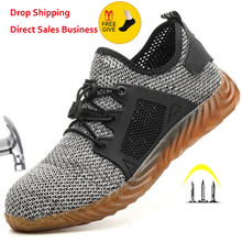 2020 nowe oddychające siatki obuwie ochronne mężczyźni świecące trampki niezniszczalne stalowe Toe miękkie anty-piercing buty do pracy Plus rozmiar 35-48