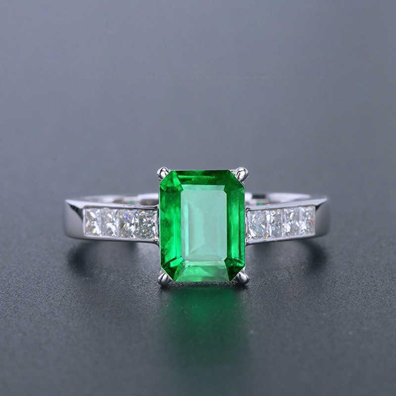 Klassische Grüne Smaragd Ring Für Frauen Edelstein Einstellbare S925 Sterling Silber Farbe Schmuck Ring Hochzeit Partei Zirkon Ringe