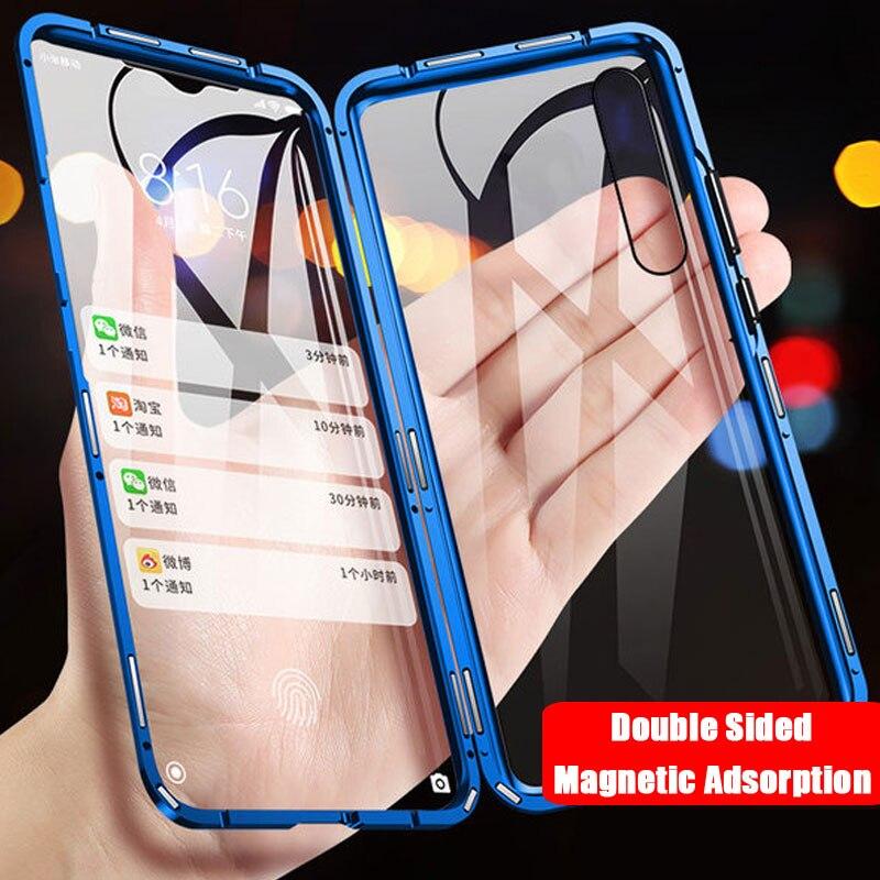 Metalen Magnetische Case Voor Red Mi Note 8 7 K20 Pro Telefoon Cover Voor Xiao Mi Mi 9T 8 CC9e 9SE A3 6x Dubbelzijdig Gehard Glas Capas
