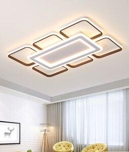 Image 4 - Moderne LED kronleuchter decke für wohnzimmer schlafzimmer plafonnier führte braun aluminium + acryl moderne kronleuchter leuchten