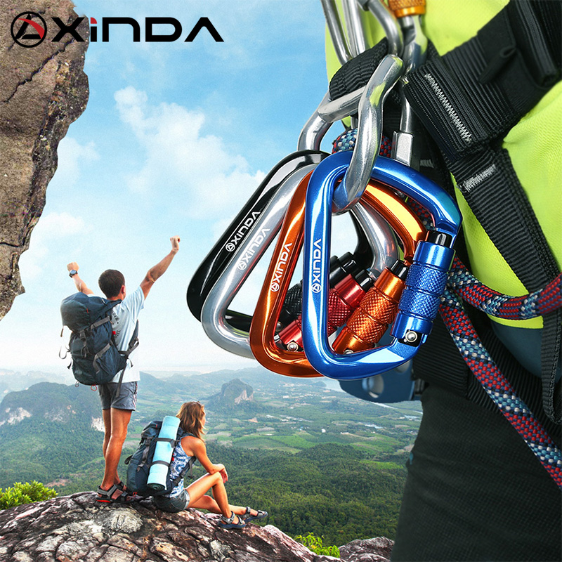 XINDA Professional  Safety Auto Carabiner Multicolor 25KN Climbing Rock Buckle Aluminum Alloy Hook Mountaineer Equipment