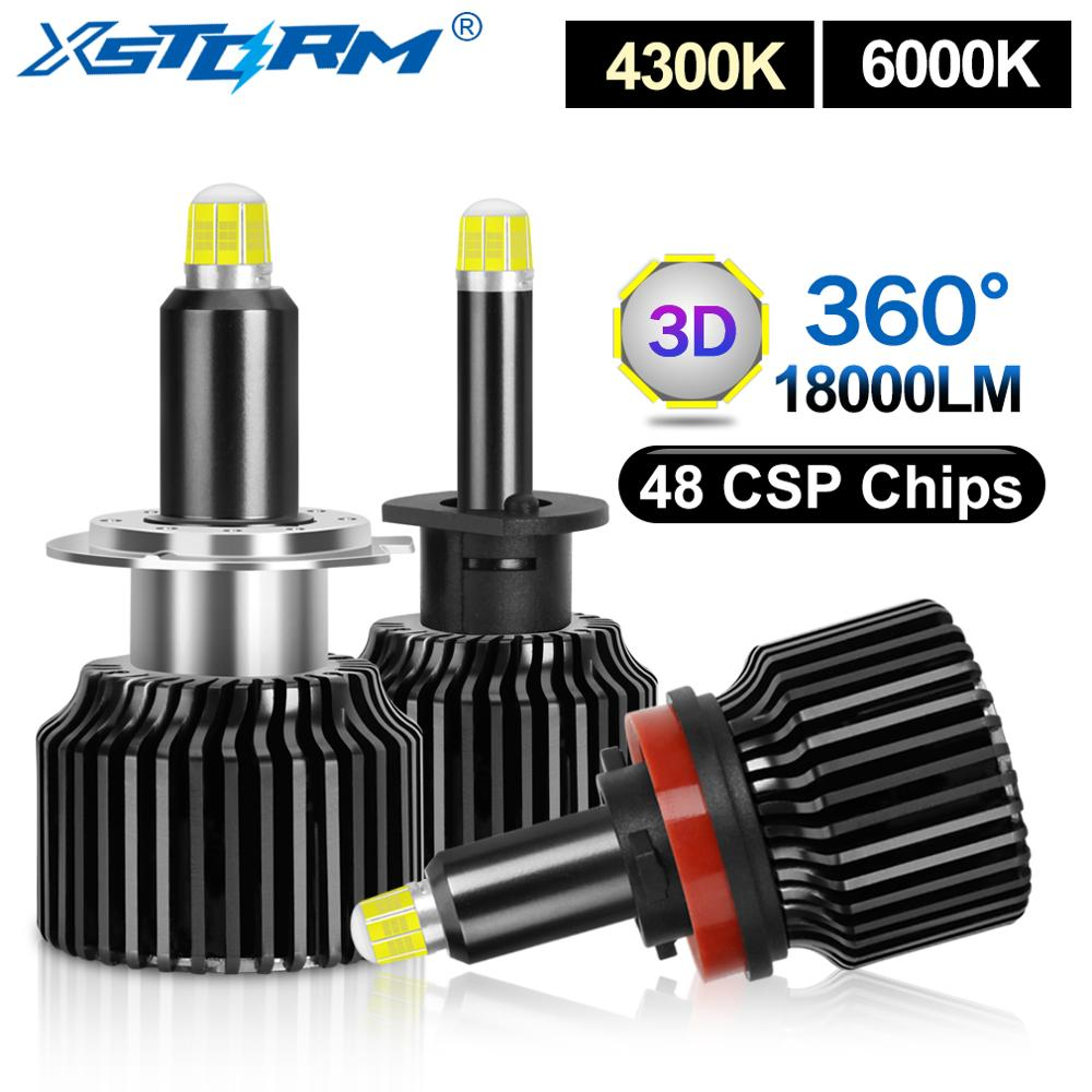 2pcs 48 CSP H1 H3 H7 LED Bulb H8 H11 9005 HB3 9006 HB4 Canbus Car Headlight 18000LM Auto Fog Lights 4300K 6000K Turbo Led H7