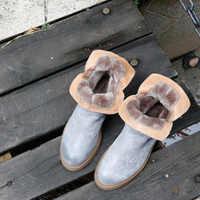 Frauen Leder Schnee Stiefel Low Heels Warme Schuhe Winter Stiefel Frauen Handarbeit Aus Echtem Leder Stiefeletten Grau Schuhe Ankle Buckle136