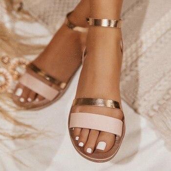 2020 sandalias de mujer planas de verano de Sanke Casual de gran tamaño 41 zapatos de hebilla de tobillo dorado de playa para mujer Calzado cómodo fresco 1
