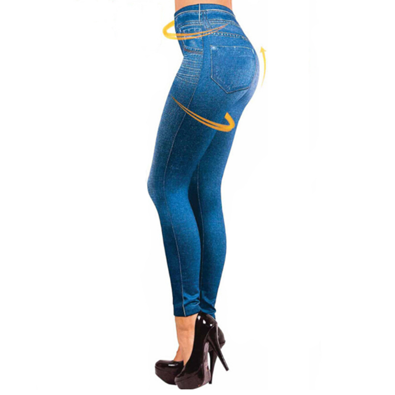 S-XXL Women Winter Jegging Jeans Slim Fashion Jeggings Leggings 2 Fake Pockets Woman Fitness Pants Plus Size Leggings
