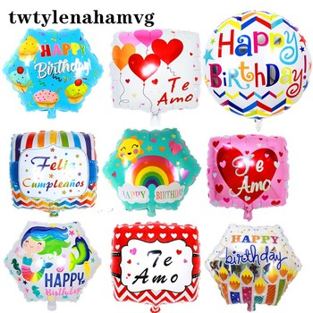 New quadrangle hexagonal round happy birthday colored balloon Easter wedding mother's day valentine's day decorative foil ballon image