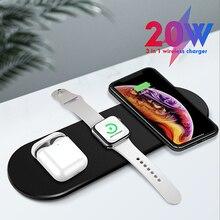 3 in 1 Qi kablosuz şarj masaüstü USB şarj pedi hızlı şarj Dock iPhone 11 X XS Max XR airpods için Pro Apple iphone 5 4